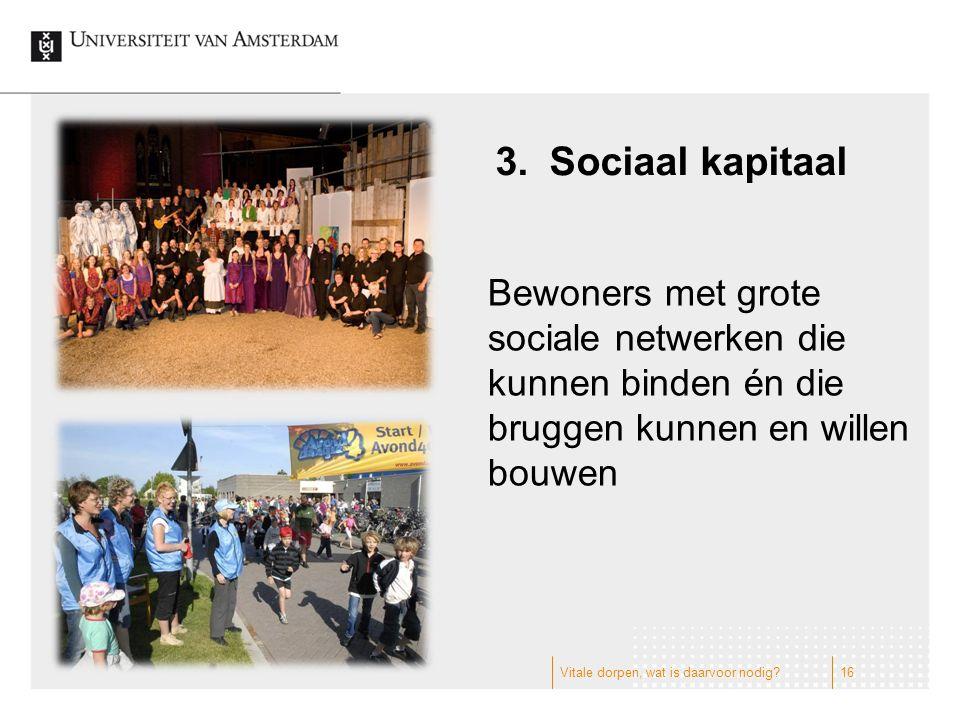 3.Sociaal kapitaal Bewoners met grote sociale netwerken die kunnen binden én die bruggen kunnen en willen bouwen 16Vitale dorpen, wat is daarvoor nodig
