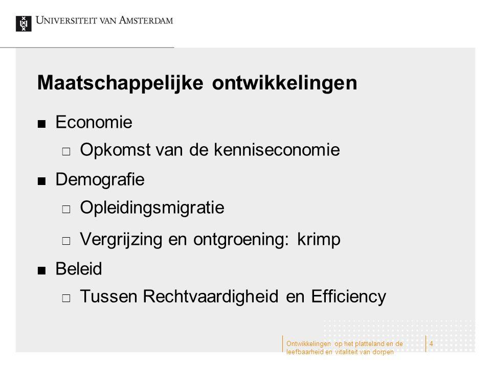 Maatschappelijke ontwikkelingen Economie  Opkomst van de kenniseconomie Demografie  Opleidingsmigratie  Vergrijzing en ontgroening: krimp Beleid 