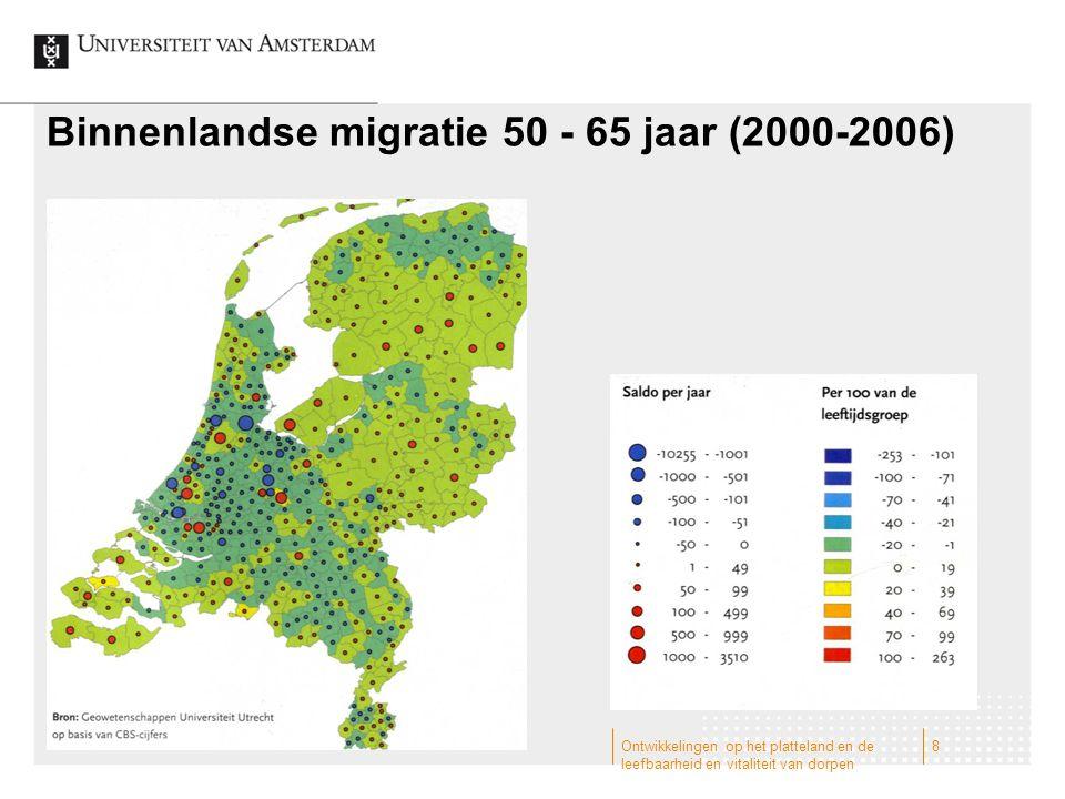 Binnenlandse migratie 50 - 65 jaar (2000-2006) Ontwikkelingen op het platteland en de leefbaarheid en vitaliteit van dorpen 8