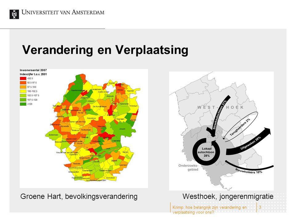Verandering en Verplaatsing Groene Hart, bevolkingsveranderingWesthoek, jongerenmigratie 3Krimp: hoe belangrijk zijn verandering en verplaatsing voor ons?