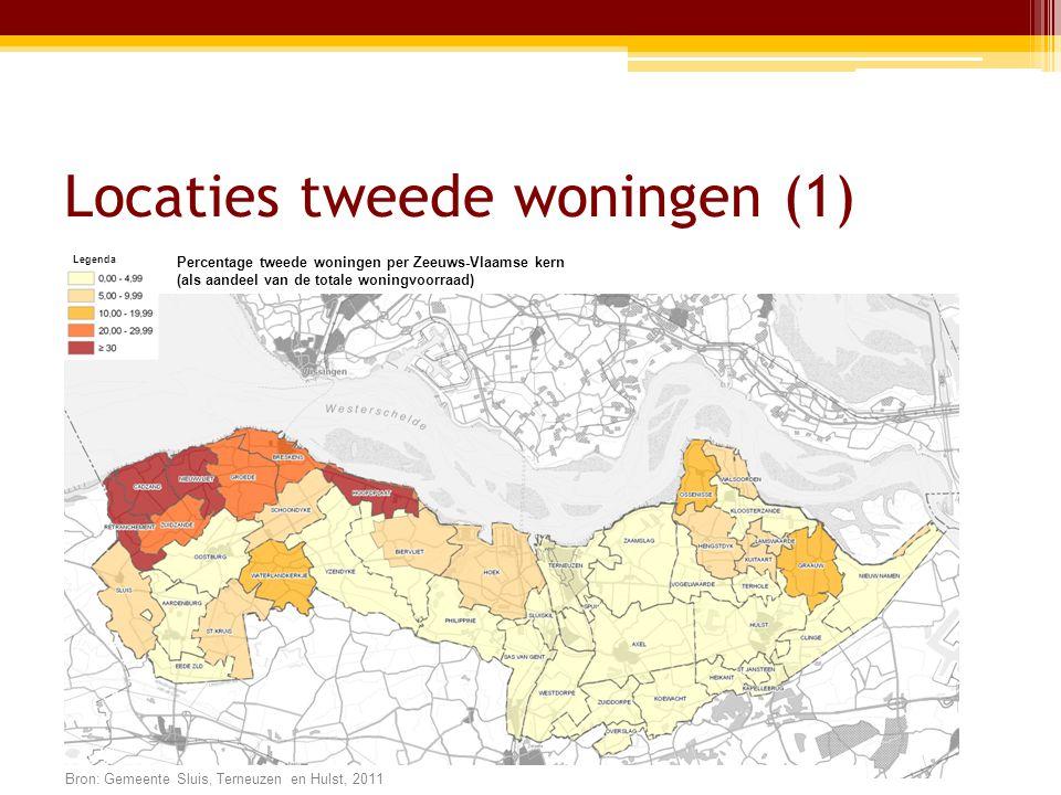 Locaties tweede woningen (1) Legenda Percentage tweede woningen per Zeeuws-Vlaamse kern (als aandeel van de totale woningvoorraad) Bron: Gemeente Sluis, Terneuzen en Hulst, 2011