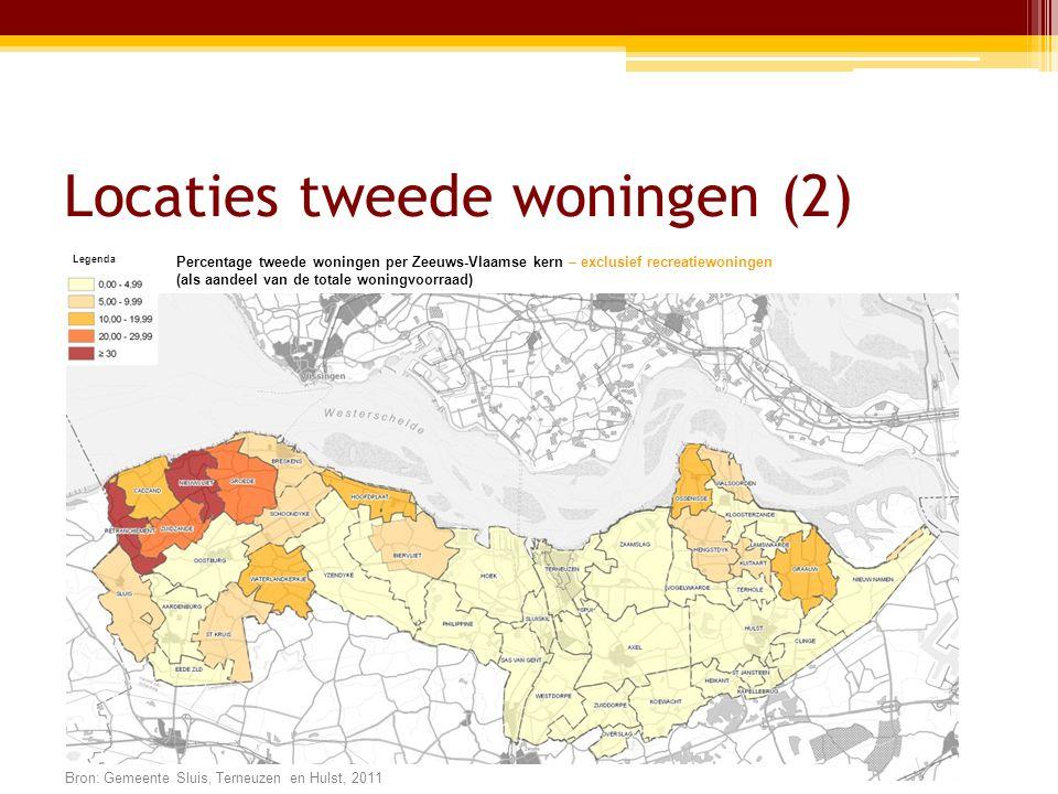 Locaties tweede woningen (2) Legenda Percentage tweede woningen per Zeeuws-Vlaamse kern – exclusief recreatiewoningen (als aandeel van de totale woningvoorraad) Bron: Gemeente Sluis, Terneuzen en Hulst, 2011