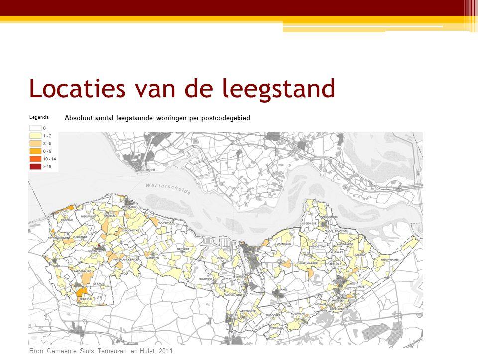 Locaties van de leegstand Legenda Absoluut aantal leegstaande woningen per postcodegebied Bron: Gemeente Sluis, Terneuzen en Hulst, 2011