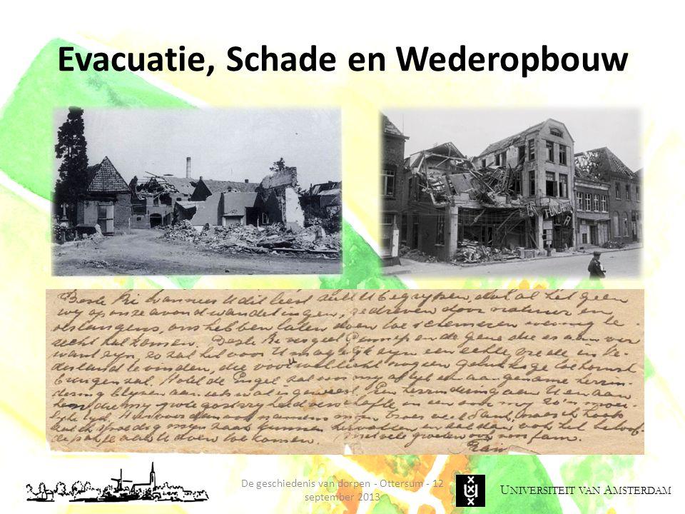 U NIVERSITEIT VAN A MSTERDAM Evacuatie, Schade en Wederopbouw De geschiedenis van dorpen - Ottersum - 12 september 2013