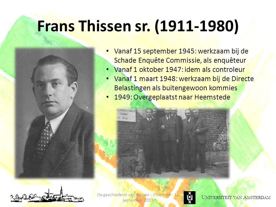 U NIVERSITEIT VAN A MSTERDAM Frans Thissen sr.