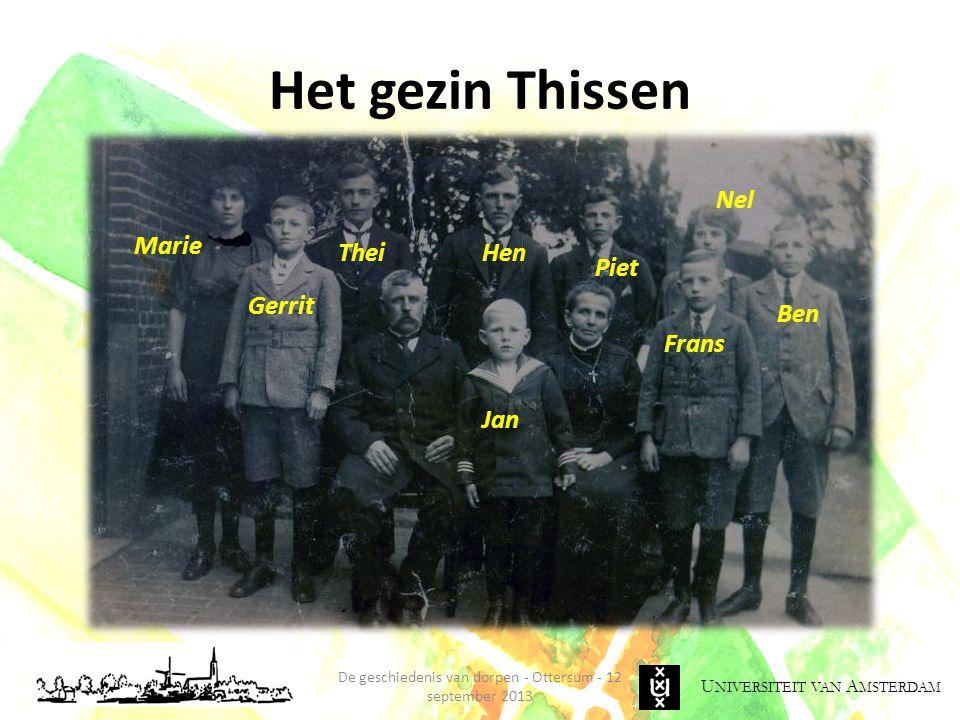 U NIVERSITEIT VAN A MSTERDAM Het gezin Thissen De geschiedenis van dorpen - Ottersum - 12 september 2013 Jan Nel Ben Frans HenThei Marie Gerrit Piet