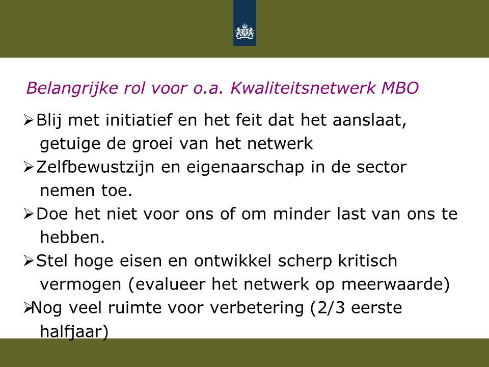 Belangrijke rol voor o.a. Kwaliteitsnetwerk MBO  Blij met initiatief en het feit dat het aanslaat, getuige de groei van het netwerk  Zelfbewustzijn