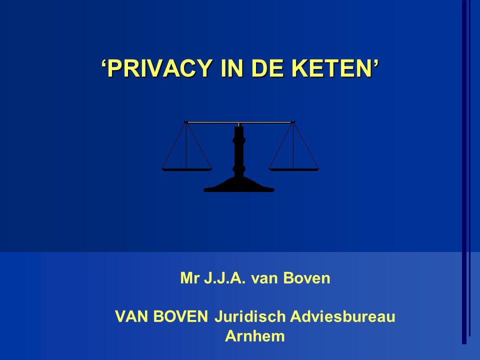 'PRIVACY IN DE KETEN' Mr J.J.A. van Boven VAN BOVEN Juridisch Adviesbureau Arnhem