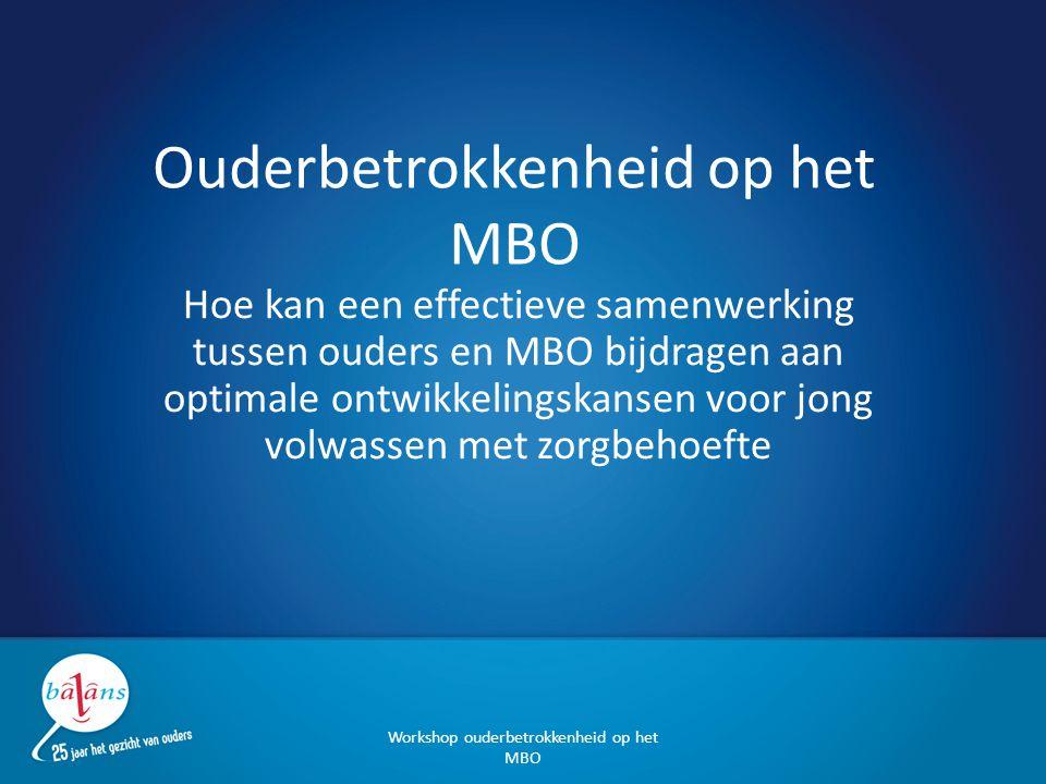 Opzet: Voorstellen, toelichting Ouderbetrokkenheid op het MBO Ervaringen Van knelpunten naar samenwerken: opdrachten Terugkoppeling en inventarisatie 'good practice' Workshop ouderbetrokkenheid op het MBO