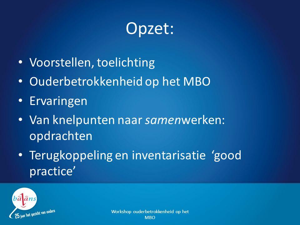 Opzet: Voorstellen, toelichting Ouderbetrokkenheid op het MBO Ervaringen Van knelpunten naar samenwerken: opdrachten Terugkoppeling en inventarisatie