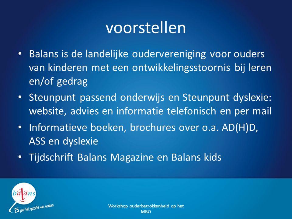 voorstellen Balans is de landelijke oudervereniging voor ouders van kinderen met een ontwikkelingsstoornis bij leren en/of gedrag Steunpunt passend on