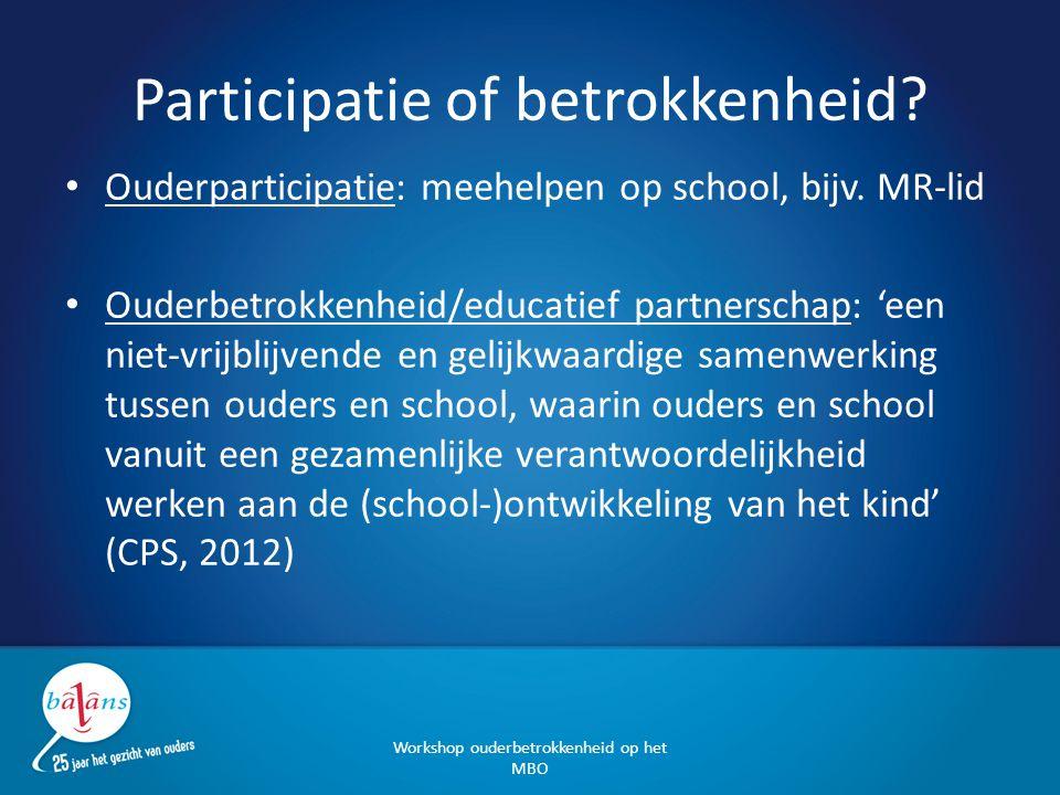 Participatie of betrokkenheid? Ouderparticipatie: meehelpen op school, bijv. MR-lid Ouderbetrokkenheid/educatief partnerschap: 'een niet-vrijblijvende
