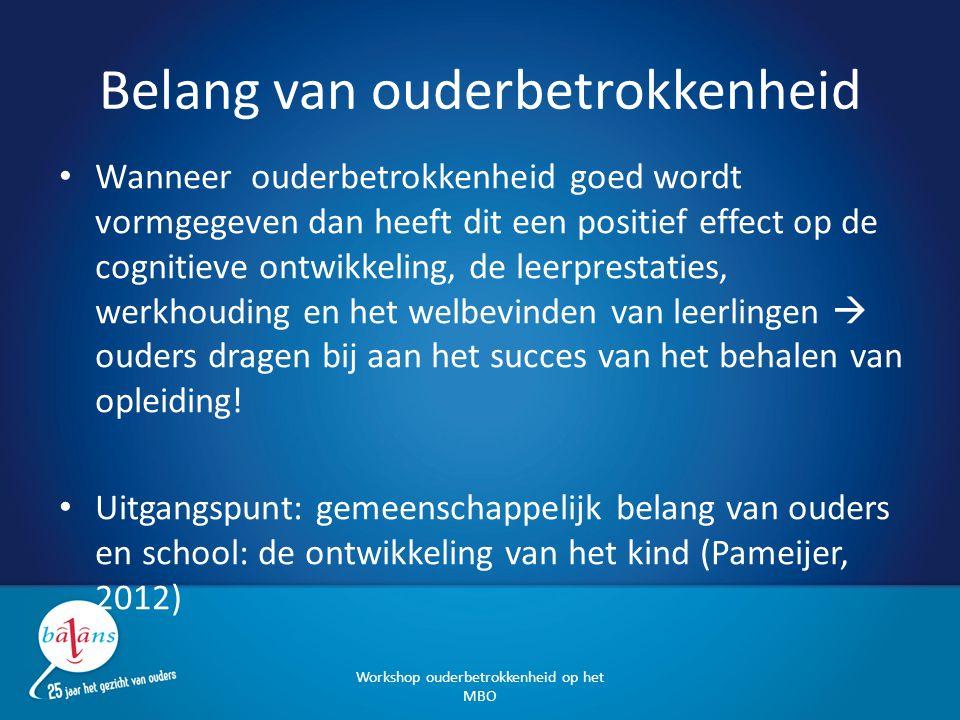 Kernbegrippen ouderbetrokkenheid Gezamenlijke en gelijkwaardige verantwoordelijkheid Heldere en gelijkwaardige communicatie: vertrouwen, positief, open, respectvol en transparant, uitspreken van (reële!) verwachtingen Eenduidige informatie, afspraken, afstemming en rolverdeling Betrokkenheid zowel op individueel als op schoolniveau Samen actief in schoolontwikkeling (beleid, visie, werkwijze, begeleiding, leerlingdossier) Ouders zijn welkom in de school.