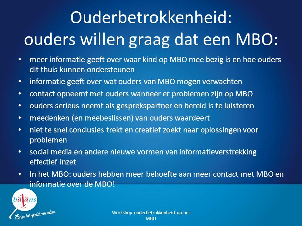 Ouderbetrokkenheid: MBO willen graag dat ouders: MBO op de hoogte stellen van wat er thuis speelt, zodat daar rekening mee gehouden kan worden realistische verwachtingen hebben van de mogelijkheden van/op MBO actieve betrokkenheid tonen en thuis zo nodig extra ondersteuning/oefening bieden Workshop ouderbetrokkenheid op het MBO