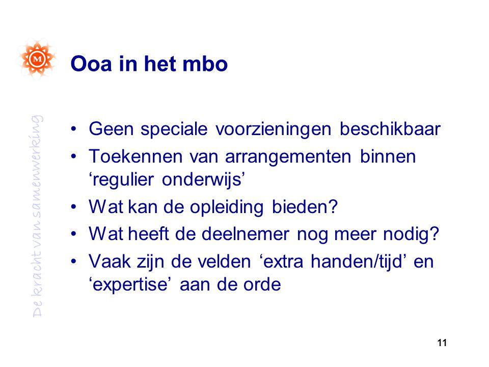 De kracht van samenwerking Ooa in het mbo Geen speciale voorzieningen beschikbaar Toekennen van arrangementen binnen 'regulier onderwijs' Wat kan de opleiding bieden.