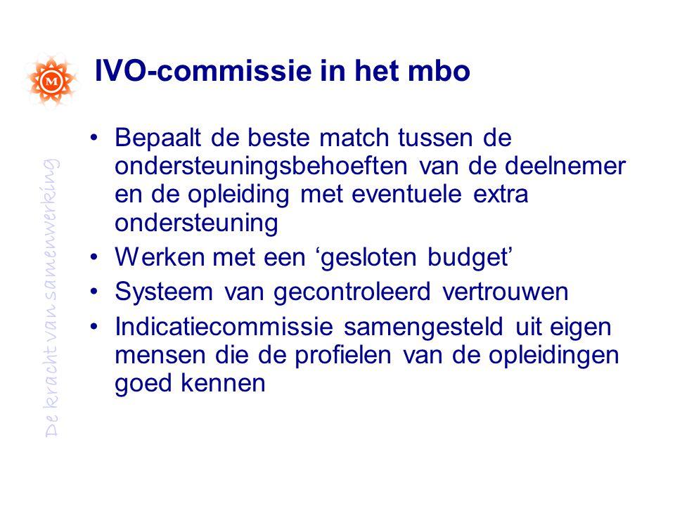 De kracht van samenwerking IVO-commissie in het mbo Bepaalt de beste match tussen de ondersteuningsbehoeften van de deelnemer en de opleiding met eventuele extra ondersteuning Werken met een 'gesloten budget' Systeem van gecontroleerd vertrouwen Indicatiecommissie samengesteld uit eigen mensen die de profielen van de opleidingen goed kennen
