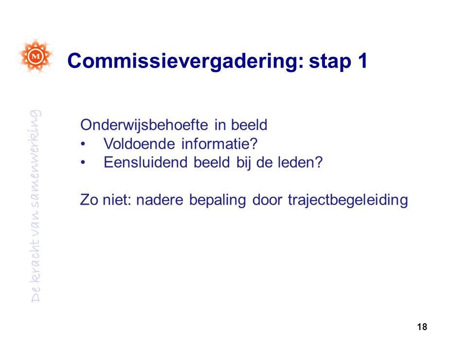 De kracht van samenwerking Commissievergadering: stap 1 18 Onderwijsbehoefte in beeld Voldoende informatie.