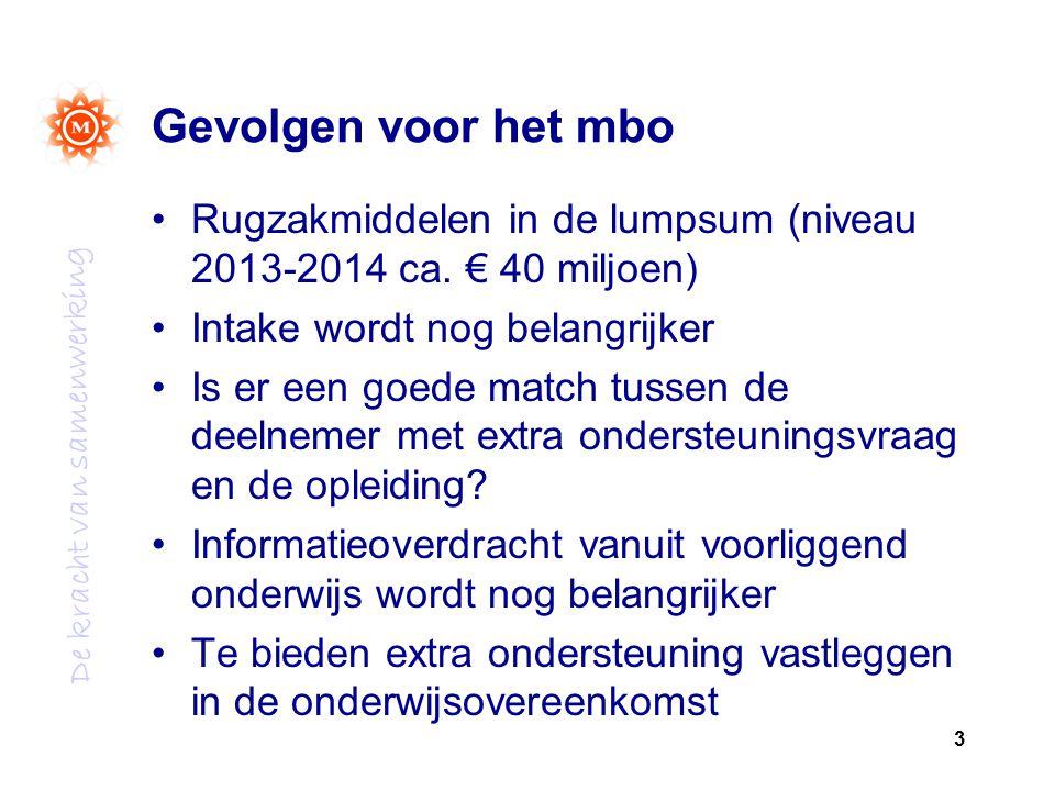 De kracht van samenwerking Gevolgen voor het mbo Rugzakmiddelen in de lumpsum (niveau 2013-2014 ca.