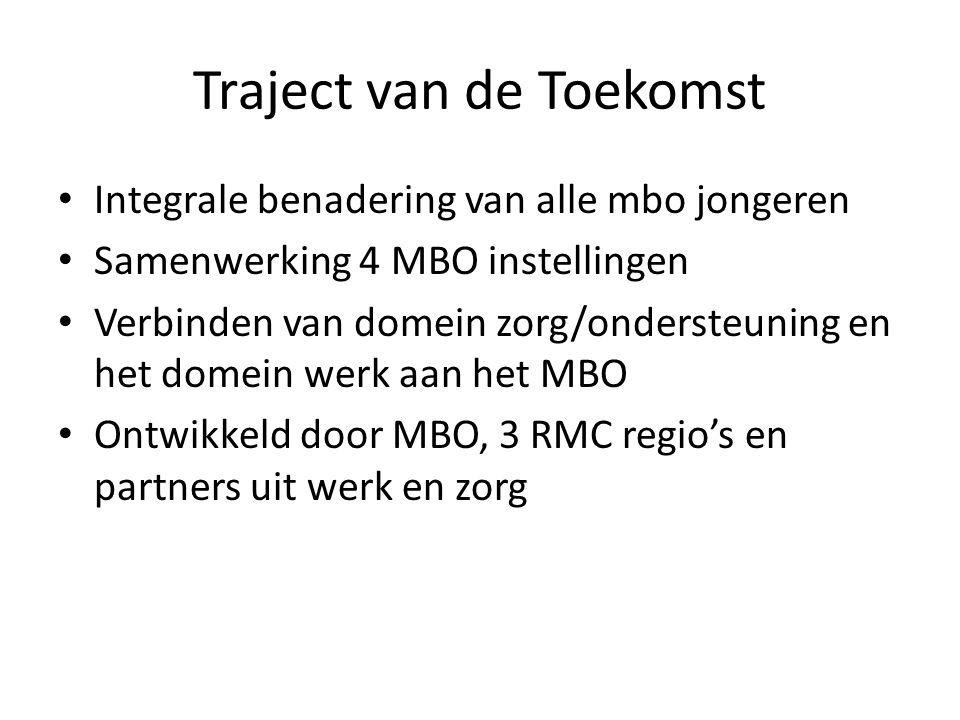 Traject van de Toekomst Integrale benadering van alle mbo jongeren Samenwerking 4 MBO instellingen Verbinden van domein zorg/ondersteuning en het dome
