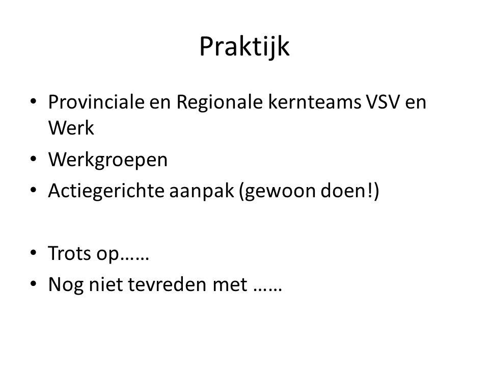 Praktijk Provinciale en Regionale kernteams VSV en Werk Werkgroepen Actiegerichte aanpak (gewoon doen!) Trots op…… Nog niet tevreden met ……