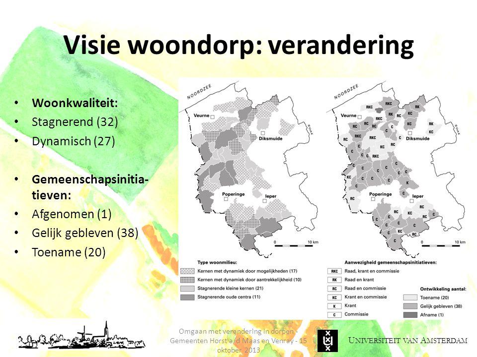 U NIVERSITEIT VAN A MSTERDAM Visie woondorp: verandering Omgaan met verandering in dorpen - Gemeenten Horst a/d Maas en Venray - 15 oktober 2013 Woonk