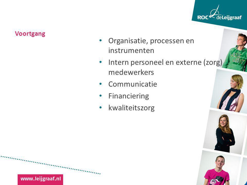 Voortgang Organisatie, processen en instrumenten Intern personeel en externe (zorg) medewerkers Communicatie Financiering kwaliteitszorg