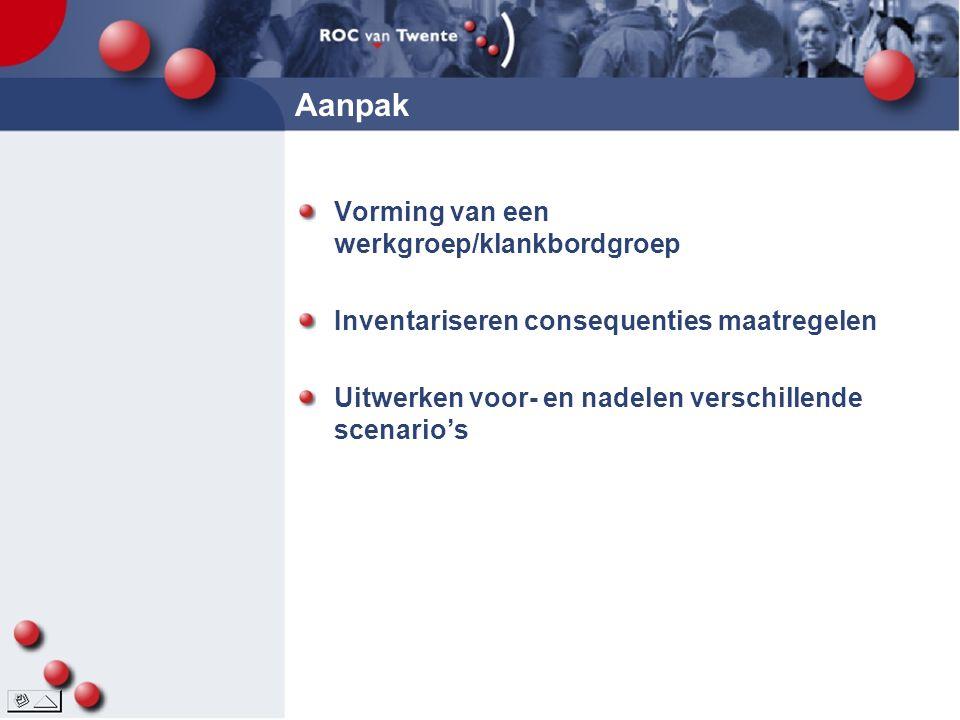 Aanpak Vorming van een werkgroep/klankbordgroep Inventariseren consequenties maatregelen Uitwerken voor- en nadelen verschillende scenario's