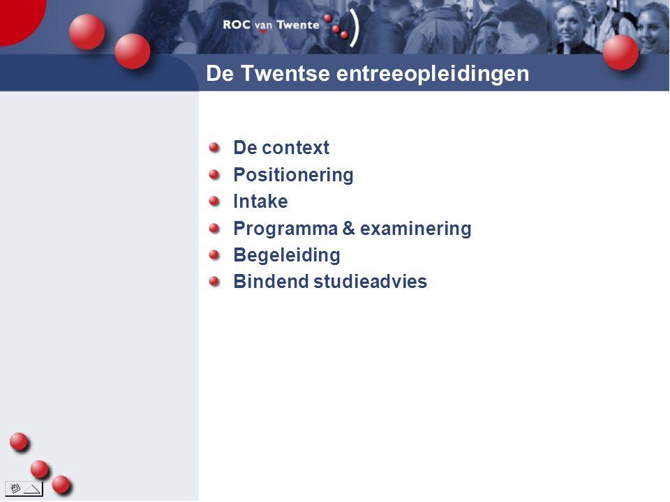 De Twentse entreeopleidingen De context Positionering Intake Programma & examinering Begeleiding Bindend studieadvies