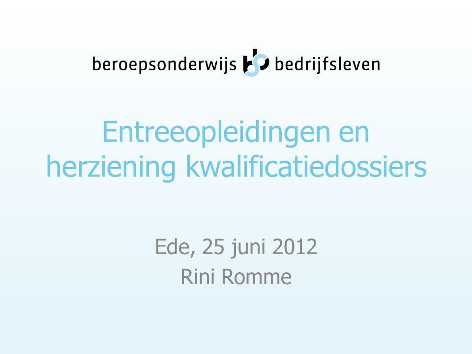 Entreeopleidingen en herziening kwalificatiedossiers Ede, 25 juni 2012 Rini Romme