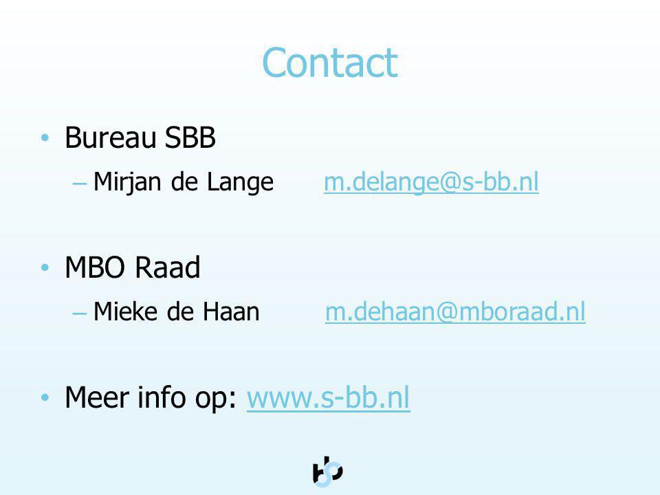 Contact Bureau SBB – Mirjan de Lange m.delange@s-bb.nlm.delange@s-bb.nl MBO Raad – Mieke de Haan m.dehaan@mboraad.nlm.dehaan@mboraad.nl Meer info op: