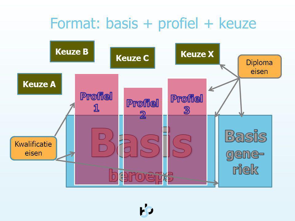 Format: basis + profiel + keuze Keuze A Keuze C Keuze B Keuze X Diploma eisen Kwalificatie eisen