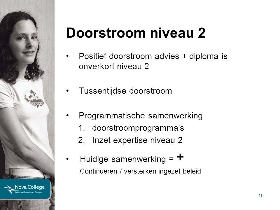 10 Doorstroom niveau 2 Positief doorstroom advies + diploma is onverkort niveau 2 Tussentijdse doorstroom Programmatische samenwerking 1.doorstroompro