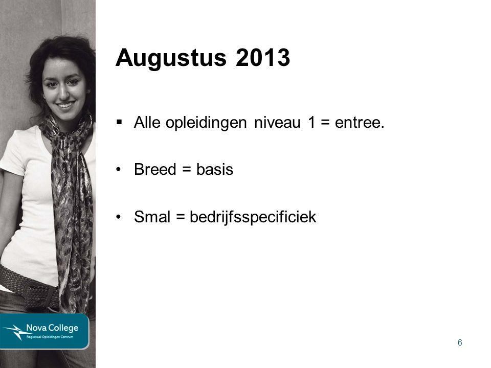 6 Augustus 2013  Alle opleidingen niveau 1 = entree. Breed = basis Smal = bedrijfsspecificiek