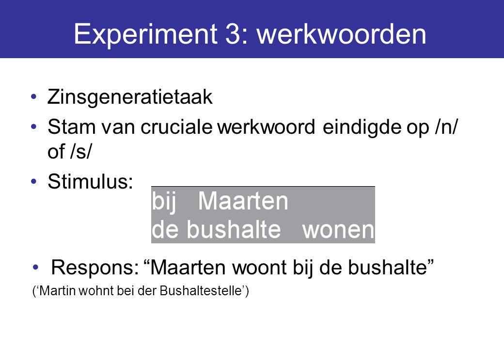 """Experiment 3: werkwoorden Zinsgeneratietaak Stam van cruciale werkwoord eindigde op /n/ of /s/ Stimulus: Respons: """"Maarten woont bij de bushalte"""" ('Ma"""