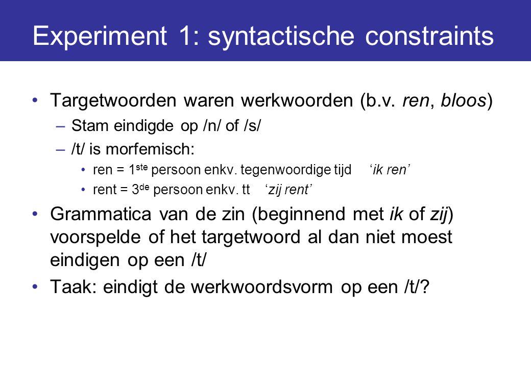Experiment 1: syntactische constraints Targetwoorden waren werkwoorden (b.v. ren, bloos) –Stam eindigde op /n/ of /s/ –/t/ is morfemisch: ren = 1 ste