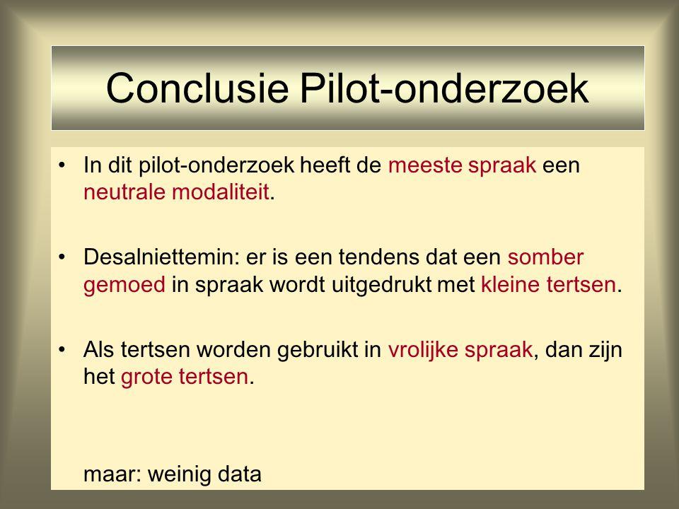 12 Conclusie Pilot-onderzoek In dit pilot-onderzoek heeft de meeste spraak een neutrale modaliteit. Desalniettemin: er is een tendens dat een somber g