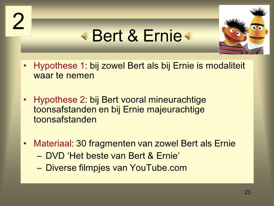 20 Bert & Ernie Hypothese 1: bij zowel Bert als bij Ernie is modaliteit waar te nemen Hypothese 2: bij Bert vooral mineurachtige toonsafstanden en bij