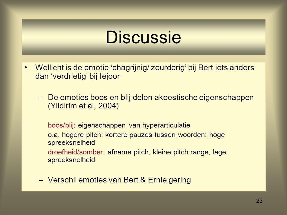 23 Discussie Wellicht is de emotie 'chagrijnig/ zeurderig' bij Bert iets anders dan 'verdrietig' bij Iejoor –De emoties boos en blij delen akoestische