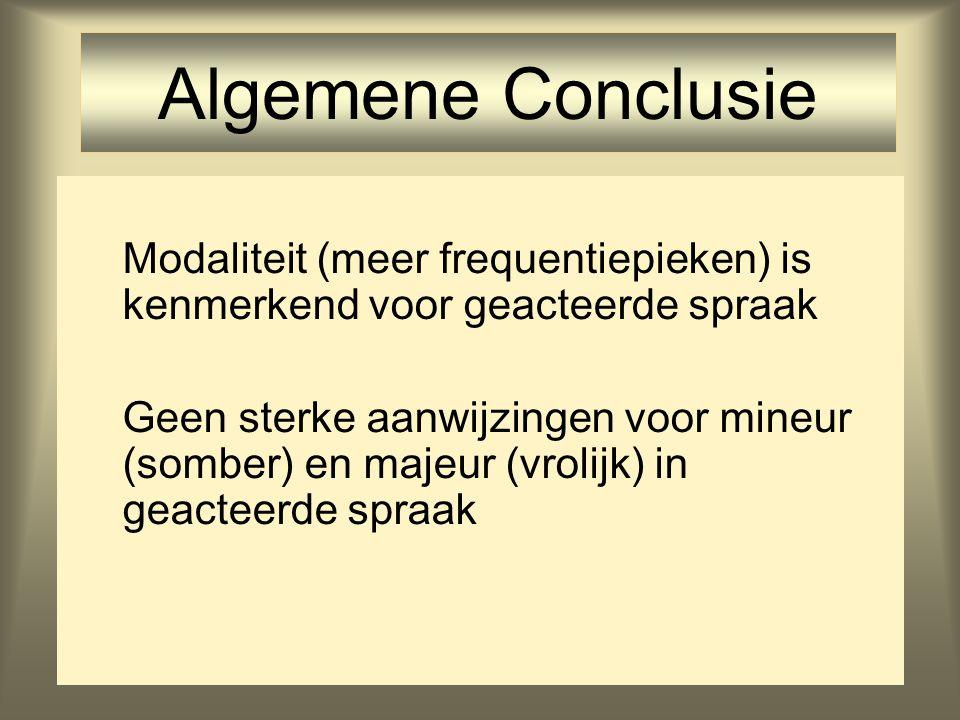 31 Algemene Conclusie Modaliteit (meer frequentiepieken) is kenmerkend voor geacteerde spraak Geen sterke aanwijzingen voor mineur (somber) en majeur