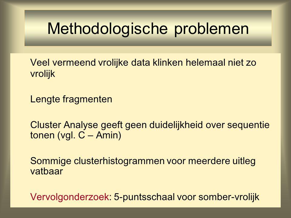 32 Methodologische problemen Veel vermeend vrolijke data klinken helemaal niet zo vrolijk Lengte fragmenten Cluster Analyse geeft geen duidelijkheid o