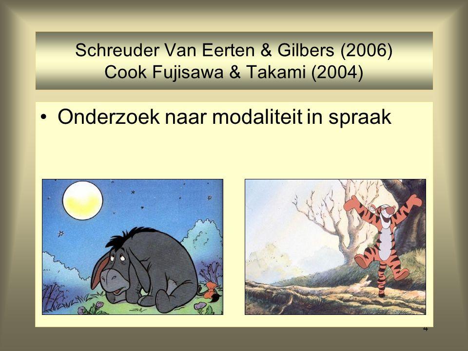 4 Schreuder Van Eerten & Gilbers (2006) Cook Fujisawa & Takami (2004) Onderzoek naar modaliteit in spraak
