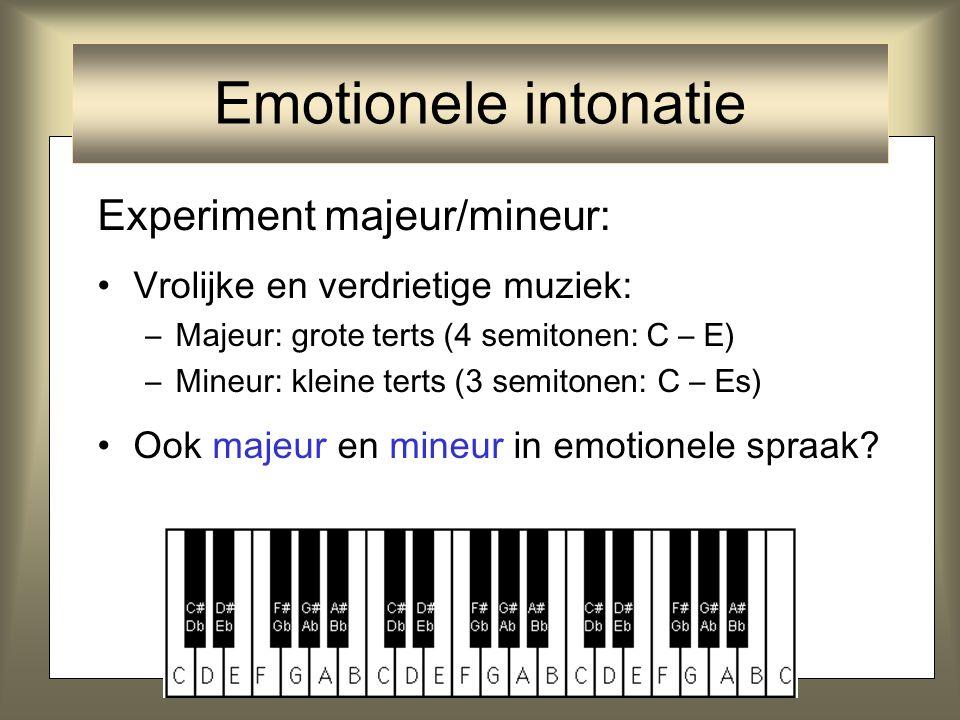5 Experiment majeur/mineur: Vrolijke en verdrietige muziek: –Majeur: grote terts ( 4 semitonen: C – E) –Mineur: kleine terts ( 3 semitonen : C – Es) O