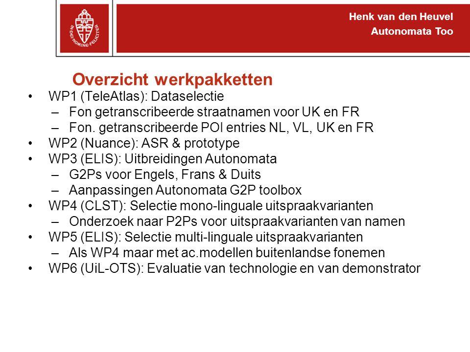 Henk van den Heuvel Autonomata Too Overzicht werkpakketten WP1 (TeleAtlas): Dataselectie –Fon getranscribeerde straatnamen voor UK en FR –Fon. getrans