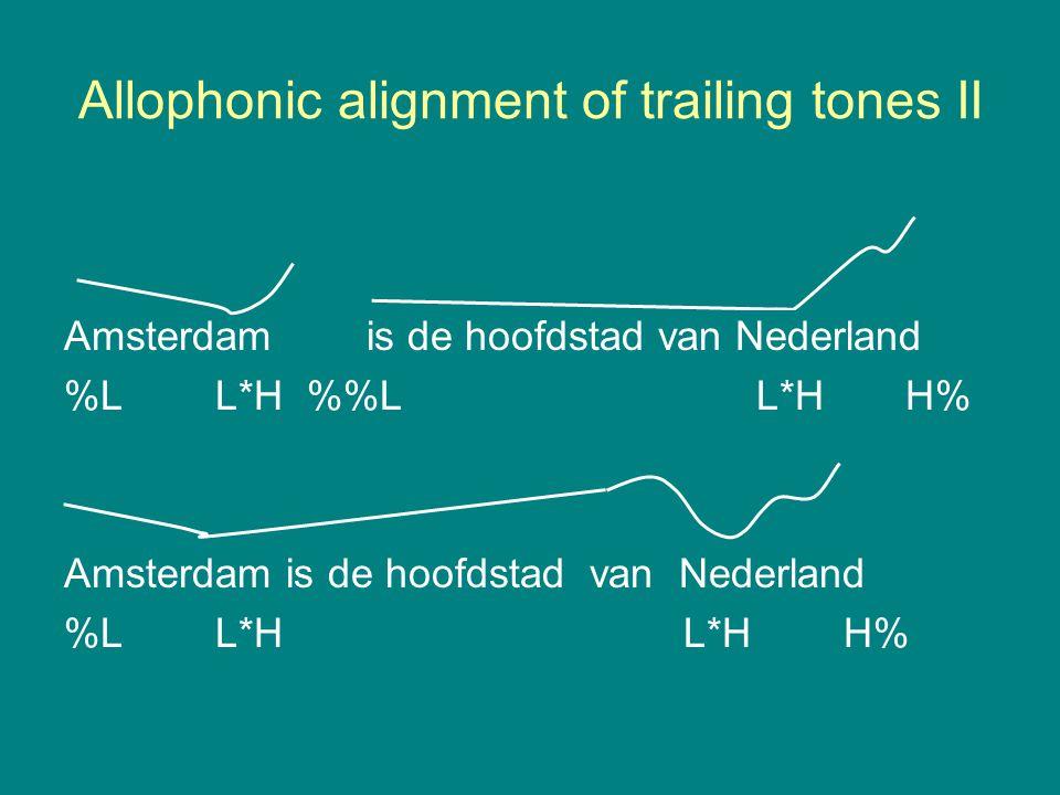 Allophonic alignment of trailing tones I Amsterdam is de hoofdstad van Nederland %L H*LL% %L H*L L% Amsterdam is de hoofdstad van Nederland %L H*L H*L