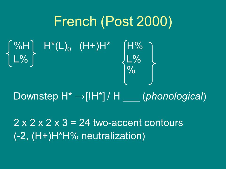 Transcription system Represents a phonological analysis Draws on a theory of phonetics-phonology ToBI: American English; theory is Pierrehumbert 1980,