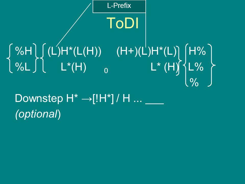 ToDI %H (L)H*(L(H)) (H+)(L)H*(L) H% %L L*(H) 0 L* (H) L% % Downstep H* →[!H*] / H... ___ (optional) Optional final boundary tone Downstep morphemic L-