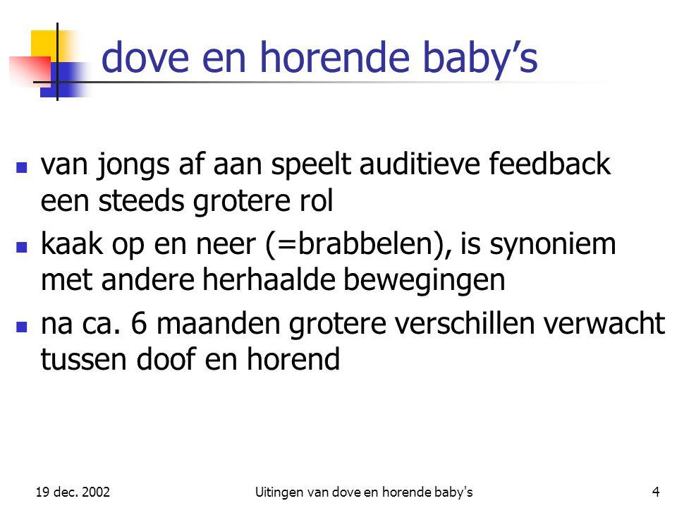 19 dec. 2002Uitingen van dove en horende baby's4 dove en horende baby's van jongs af aan speelt auditieve feedback een steeds grotere rol kaak op en n
