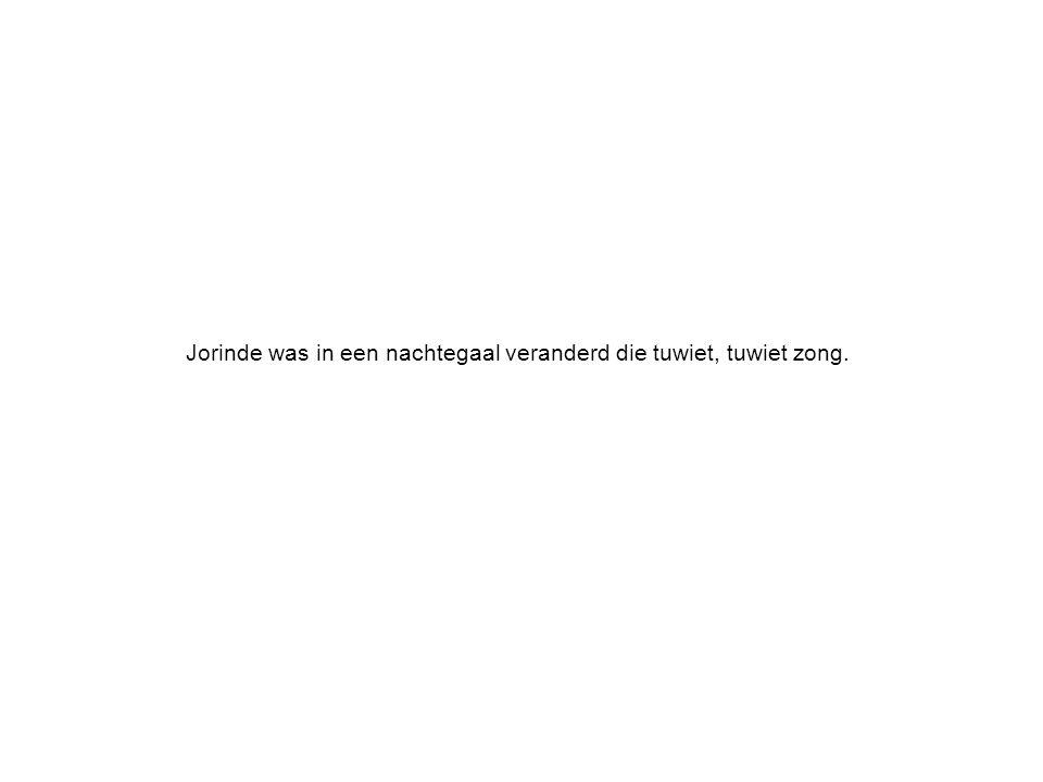 Jorinde was in een nachtegaal veranderd die tuwiet, tuwiet zong.