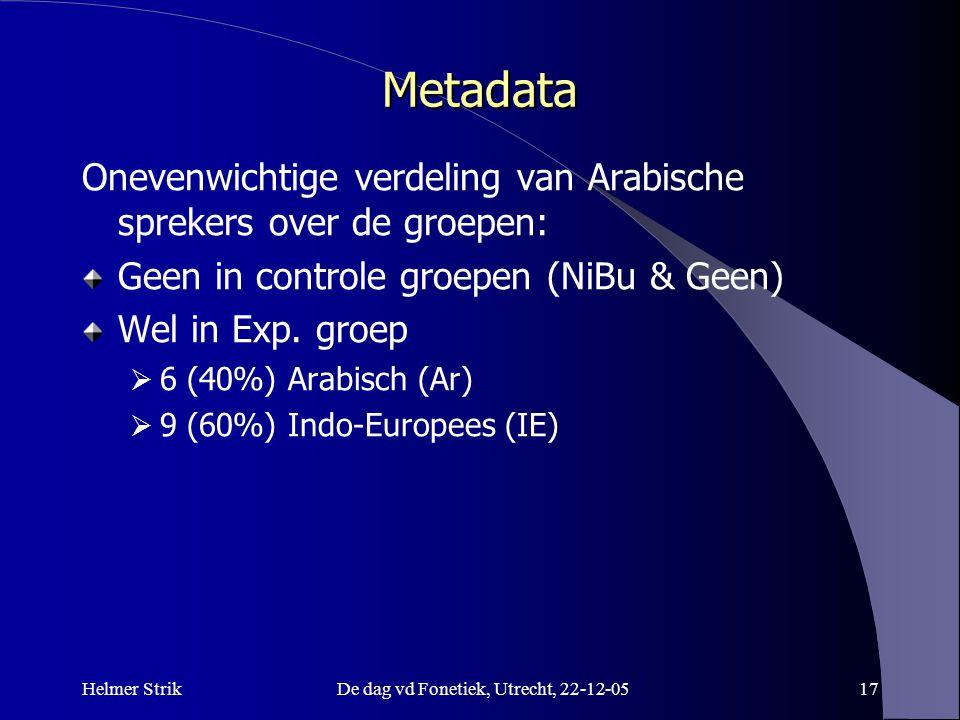Helmer StrikDe dag vd Fonetiek, Utrecht, 22-12-0516 Scores 6 experts Nadere analyse van de scores van de 6 experts. Correlaties - van expert scores me