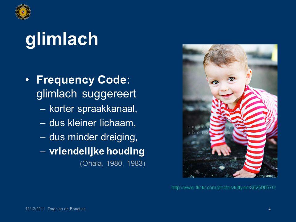 15/12/2011 Dag van de Fonetiek15 bespreking affectief gebaar niet altijd passend: …zonder een spoor van een glimlach. ambigue glimlach: man-vrouw-verschillen